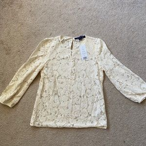 French connection ivory lace blouse